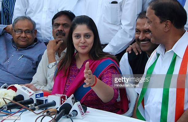 Lok Sabha election candidate from Meerut Nagma addresses press conference on March 24 2014 in Meerut India Congress MLA Gaj Raj Sharma allegedly...