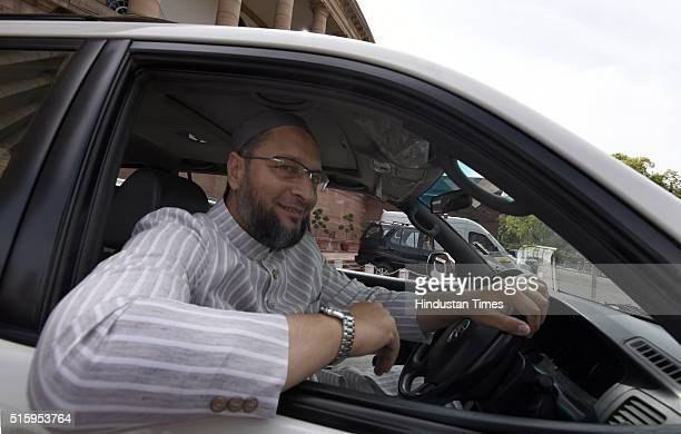 Lok Sabha MP and AIMIM President Asaduddin Owaisi leaves after attending the Parliament Budget Session on March 16 2016 in New Delhi India Just...