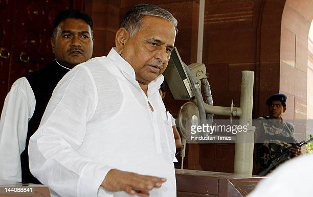 Lok Sabha MP and Samajwadi Party chief Mulayam Singh Yadav is seen after attending the ongoing budget session at parliament House on May 9, 2012 in...