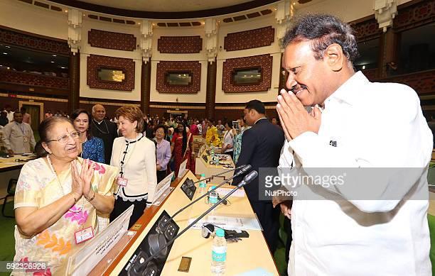 Lok Sabha Speaker Sumitra Mahajan greets with Lok Sabha Deputy Speaker M Thambi Durai during Meeting of BRICS Women Parliamentarians Forum' Women...