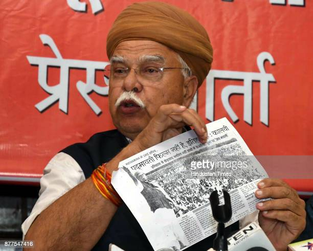 Lokendra Singh Kalvi Founder Shree Rajput Karni Sena along with his supporter during a press conference on objection of Rajput Community on Sanjay...