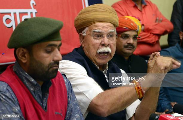Lokendra Singh Kalvi Founder Shree Rajput Karni Sena along with his supporters briefing the press conference on objections of Rajput Community on...
