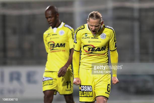 Lokeren's Ari Freyr Skulason looks dejected during a soccer match between KAS Eupen and Sporting Lokeren Saturday 19 January 2019 in Eupen on day 22...