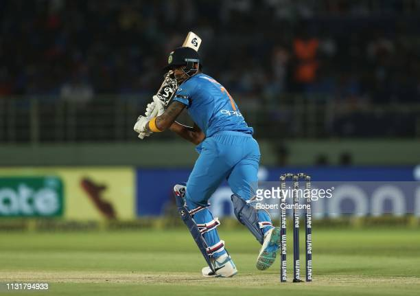 Lokesh Rahul of India bats during game one of the T20I Series between India and Australia at ACAVDCA Stadium on February 24 2019 in Visakhapatnam...