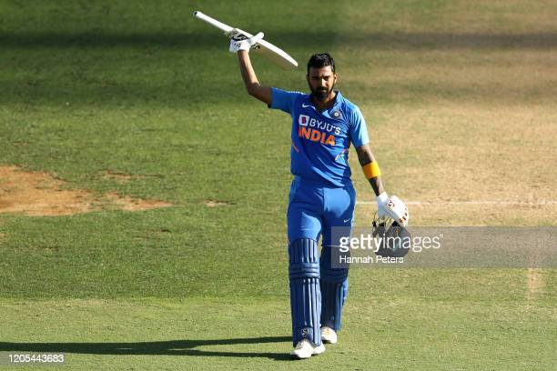 Lokesh Rahul of India celebrates after scoring a century during game three of the One Day International Series between New Zealand and India at Bay...