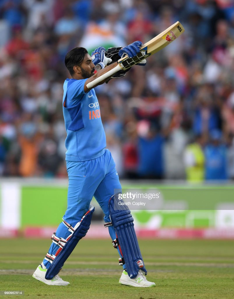 Lokesh Rahul of India celebrates reaching his century during the 1st Vitality International T20 match between England and India at Emirates Old Trafford on July 3, 2018 in Manchester, England.