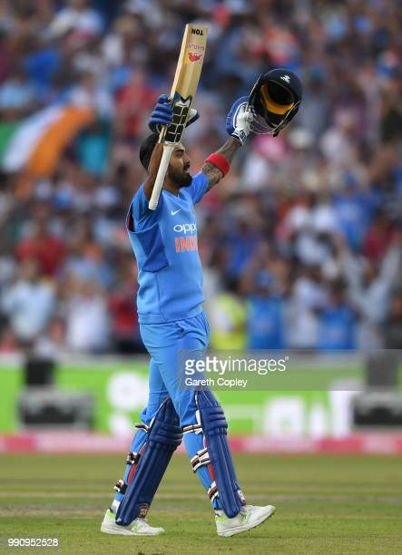 Lokesh Rahul of India celebrates reaching his century during the 1st Vitality International T20 match between England and India at Emirates Old...