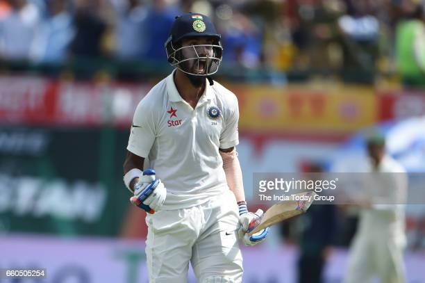 Lokesh Rahul of India celebrates victory during the day 4 of their fourth test cricket match in Dharmsala