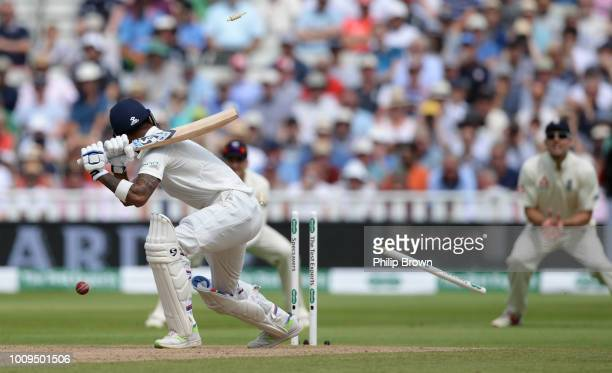 Lokesh Rahul of India is bowled during the second day of the 1st Specsavers Test Match between England and India at Edgbaston on August 2 2018 in...