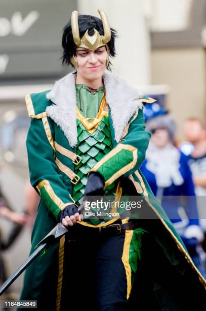 Loki cosplayer in character seen during London Film and Comic Con 2019 at Olympia London on July 27 2019 in London England
