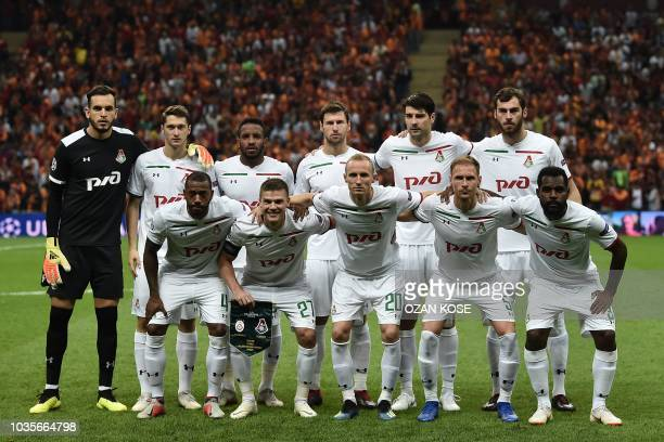 Lokomotif moscow's players pose before the UEFA champions league group D football match Galatasaray vs Lokomotiv Moscow at the Ali Samiyen sport...