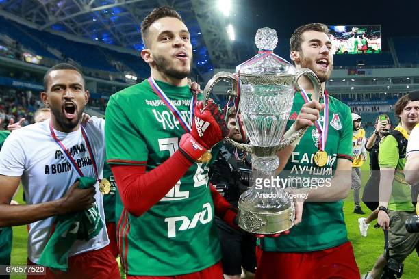 Lokomotiv Moscow players celebrate the victory in the 2016/17 Season Russian Football Cup final match against Ural Yekaterinburg at Fisht Olympic...