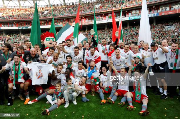 Lokomotiv Moscow players celebrate their championship after the Russian Football League match between FC Lokomotiv Moscow and FC Zenit Saint...