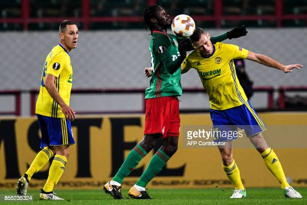 Lokomotiv Moscow's forward from Portugal Eder and FC Fastav Zlín's defender from Czech Republic Ondrej Baco vie for the ball during the UEFA Europa...