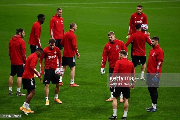 Lokomotiv Moscow's players attend a training session at the Wanda Metropolitano Stadium in Madrid on November 24 2020 on the eve of the UEFA...