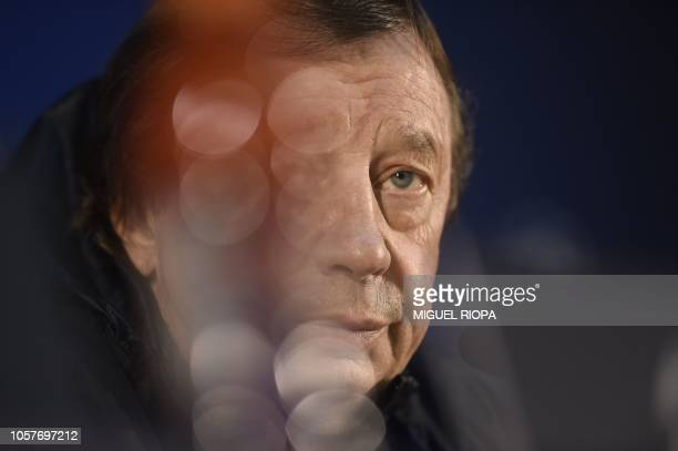 Lokomotiv Moscow's Russian coach Yuri Semin holds a press conference at the Dragao stadium in Porto on November 5 2018 on the eve of the UEFA...