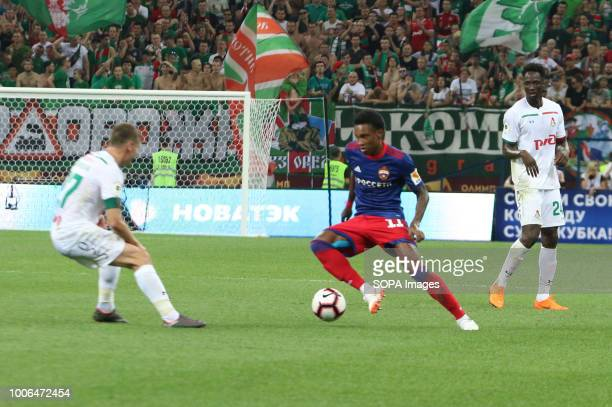 Lokomotiv player Igor Denisov Eder Lopes and CSKA player Vitinho seen during the Olimp Super Cup of Russia match CSKA moscow won the Olimp Super Cup...