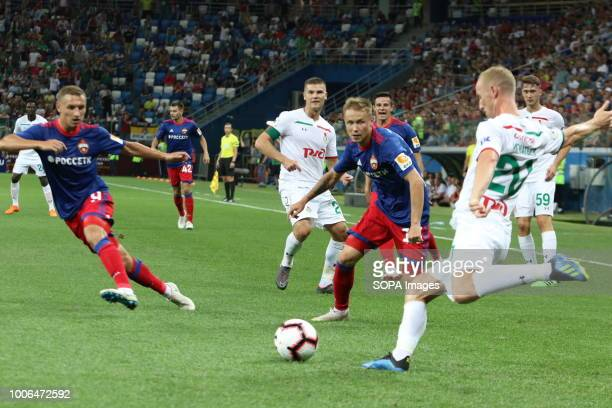 Lokomotiv player Manuel Fernandesh Vladislav Ignatiev Aleksey Miranchuk and CSKA player Fedor Chalov Dmitry Efremov seen in action during the Olimp...