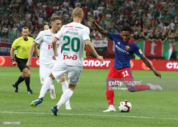 Lokomotiv player Vladislav Ignatiev and CSKA player Vitinho seen during the match of the Olimp Super Cup of Russia CSKA moscow won the Olimp Super...