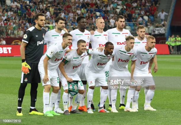 Lokomotiv players seen having their team photo taken before the Olimp Super Cup of Russia match CSKA moscow won the Olimp Super Cup of Russia with a...