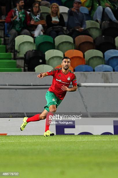 Lokomotiv's forward Aleksandr Samedov celebrastes scoring Locomotive«s first goal during the match between Sporting CP and Locomotive Moscow for UEFA...