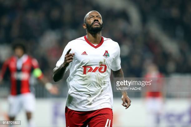 Lokomotiv's Manuel Fernandes celebrates after scoring a third goal during the UEFA Europa League football match between Nice and Lokomotiv Moscow on...