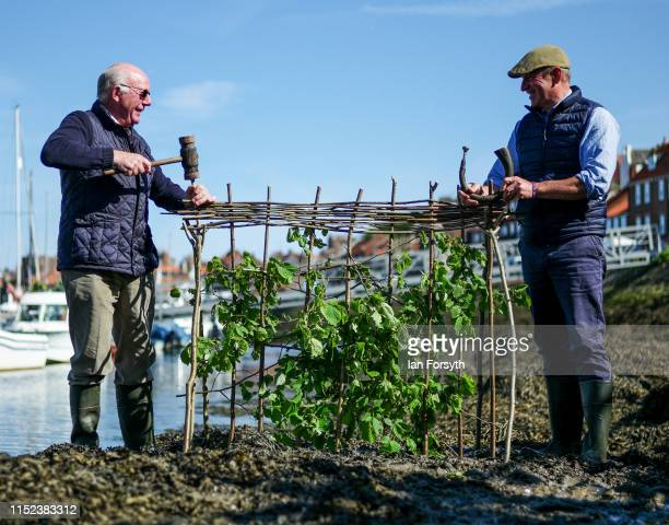 Lol Hodgson the Baliff of the Manor of Fyling and Tim Osborne carry out the ancient Ceremony of the Horngarth or planting of the Penny Hedge...