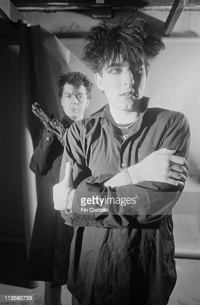 Lol Tolhurst and Robert Smith of The Cure posed studio portrait 1983