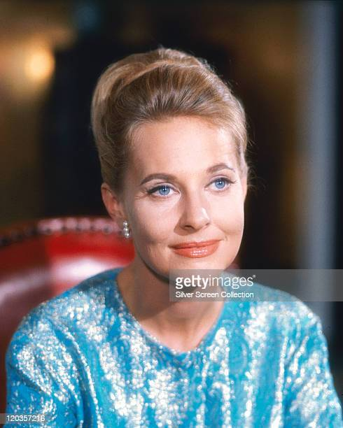Lola Albright, US actress, wearing a blue-and-silver lame top, circa 1970.