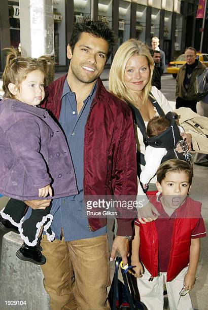 Lola and Mark Consuelos with wife Kelly Ripa and sons Joaquin and Michael arrive at the Opening Night for A Year With Frog and Toad at The Cort...
