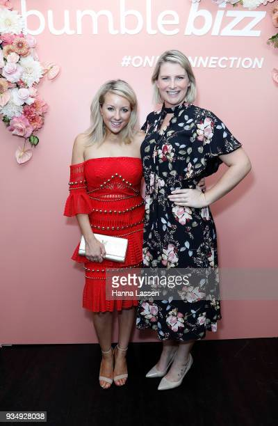 Lola Berry and Liesel Jones attend the Bumble Bizz launch on March 20 2018 in Sydney Australia