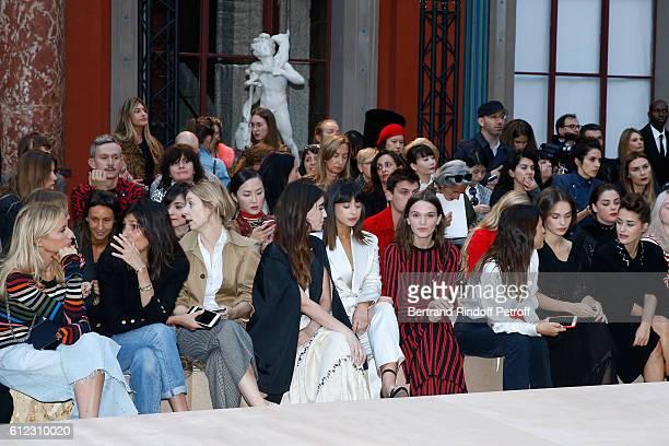 Lola Burstein; Emmanuelle Alt, guest, Rainey Qualley; Louisa Rose Allen; Anna Brewster, Jeanne Damas, Lola Le Lann and Alice David attend the Sonia...
