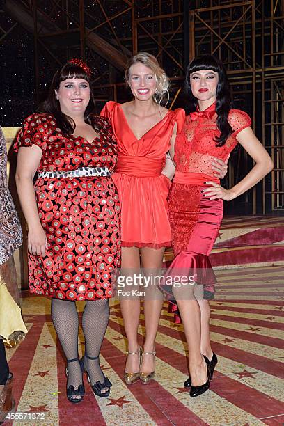 Lola Ces Aurore Delplace and Fanny Fourquez perform during the 'Love Circus' Press Preview At the Folies Bergeres on September 16 2014 in Paris France