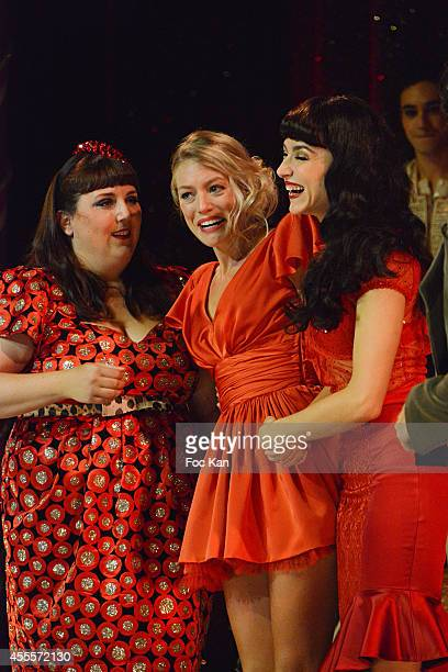 Lola Ces Aurore Delplace and Fanny Fourquezperform during the 'Love Circus' Press Preview At the Folies Bergeres on September 16 2014 in Paris France