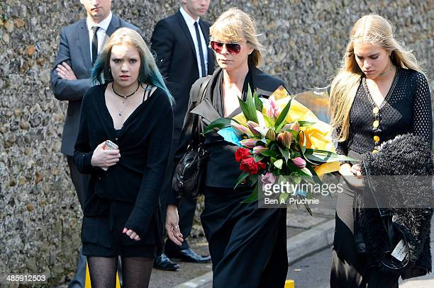 Lola Daisy May Leng Taylor Debbie Leng and Tiger Lily Taylor attends the funeral of Peaches Geldof who died aged 25 on April 7 at St Mary Magdalene...