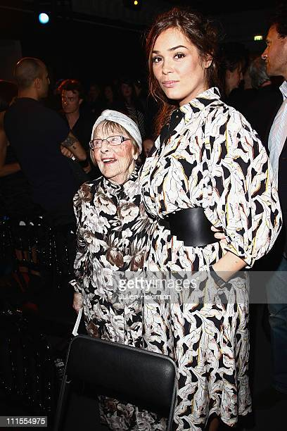 Lola Dewaere and her grandmother Mado Maurin attend the Romy Schneider And Patrick Dewaere Awards 2011 at Le Bon Marche on April 4 2011 in Paris...