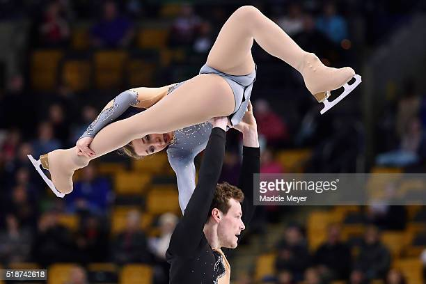 Lola Esbrat and Andrei Novoselov of France skate in the Pairs Free Skate on Day 6 of the ISU World Figure Skating Championships 2016 at TD Garden on...