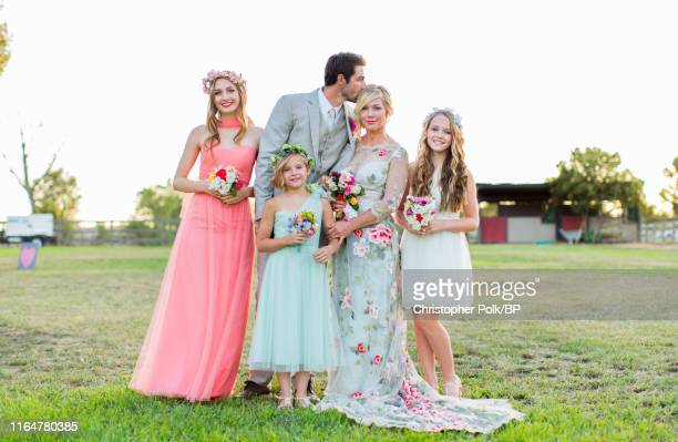 Lola Facinelli Dave Abrams Fiona Facinelli Jennie Garth and Luca Facinelli are seen at their wedding at a private residence July 11 2015 in Santa...