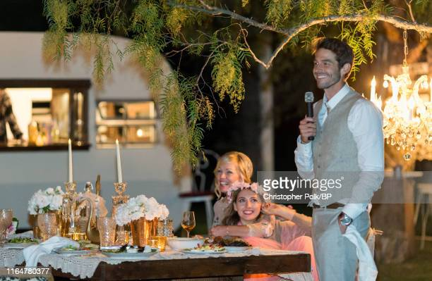 Lola Facinelli is seen with Jennie Garth and Dave Abrams at their wedding at a private residence July 11 2015 in Santa Ynez California