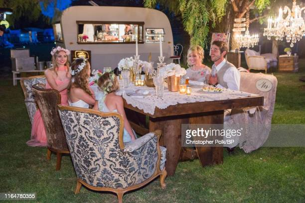 Lola Facinelli Luca Facinelli and Fiona Facinelli are seen with Jennie Garth and Dave Abrams at their wedding at a private residence July 11 2015 in...