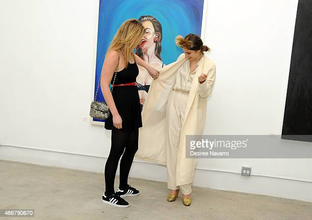 Lola Fruchtmann and artist Tali Lennox attend Tali Lennox Exhibition Opening Reception at Catherine Ahnell Gallery on March 18 2015 in New York City