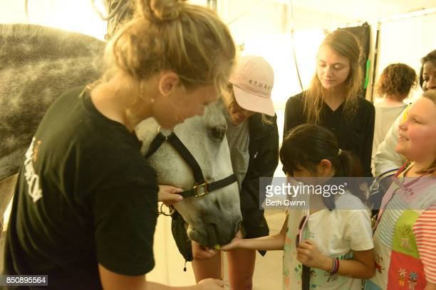 Lola Ho gets to feed the horse while teacher Jennifer Ryan watches on September 21 2017 in Nashville Tennessee