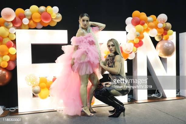 Lola Indigo and Pabllo Vittar backstage during the MTV EMAs 2019 at FIBES Conference and Exhibition Centre on November 03 2019 in Seville Spain