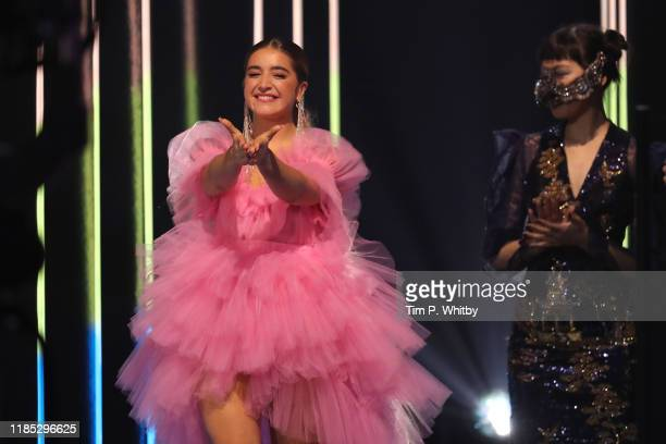 Lola Indigo is seen on stage during the MTV EMAs 2019 at FIBES Conference and Exhibition Centre on November 03 2019 in Seville Spain