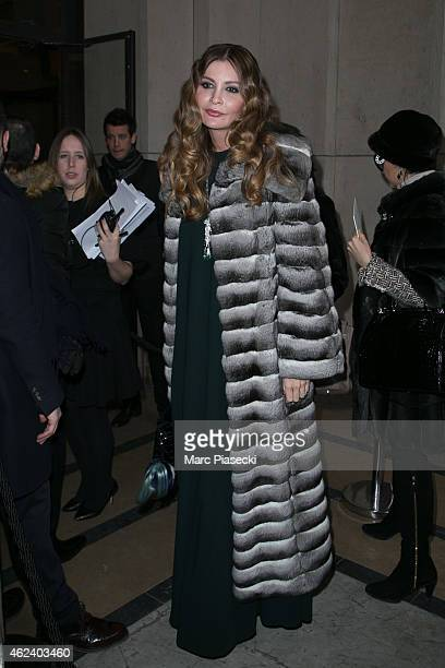 Lola KarimovaTillyaeva arrives to attend the Elie Saab show as part of Paris Fashion Week Haute Couture Spring/Summer 2015 on January 28 2015 in...