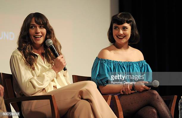 Lola Kirke and Bernadette Peters speak at The SAGAGTRA Foundation's Conversations Series Presents 'Mozart In The Jungle' at The New School on...