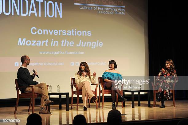 Lola Kirke Bernadette Peters and Saffron Burrows speak at The SAGAGTRA Foundation's Conversations Series Presents 'Mozart In The Jungle' at The New...