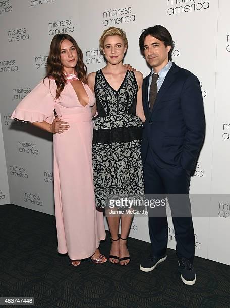 Lola Kirke Greta Gerwig and Noah Baumbach attend the 'Mistress America' New York Premiere at Landmark Sunshine Cinema on August 12 2015 in New York...
