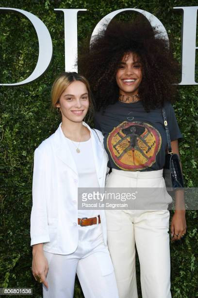 Lola Le Lann and Tina Kunakey attend 'Christian Dior couturier du reve' Exhibition Launch celebrating 70 years of creation at Musee Des Arts...