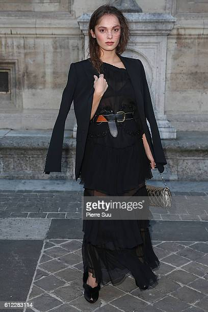 Lola Le Lann arrives at the Sonia Rykiel show as part of the Paris Fashion Week Womenswear Spring/Summer 2017 on October 3 2016 in Paris France